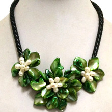 16 17 inches Natural Leather Cord Three Green Shell Flower Bride Jewelry Women Handmade White Pearl