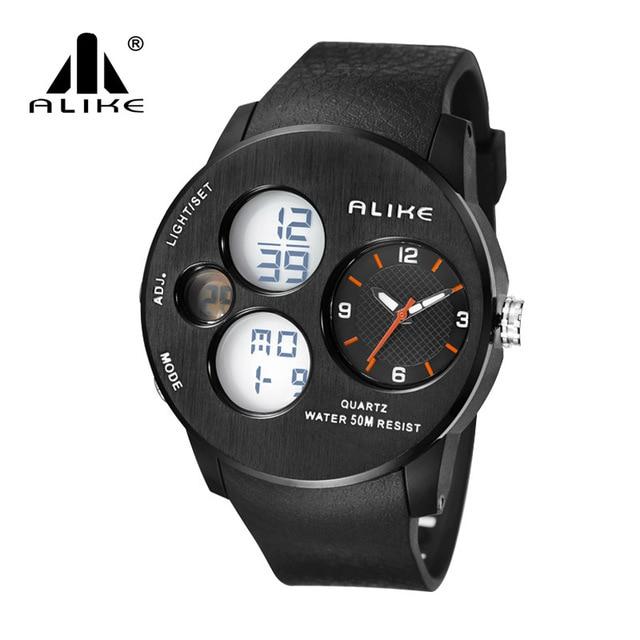 2016 New design Alike Luxury Brand Sports Watch LED Analog-Digital Watches men Military waterproof Clock Relogio Masculino