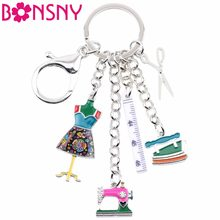 Bonsny Alloy Sewing machine Tools Scissor Flatiron Key Chains Ring Gift For Women Girl Bag Charm Keychain Charm Keyring Jewelry(China)