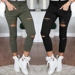 RUINPOP Holes Trousers Black White Stretch Ripped Jeans
