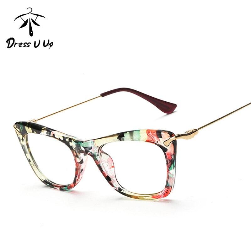 3146bda8ce DRESSUUP 8 Colors Fashionable Cat Eye Eyeglasses Frame Women Sexy Floral  Reading Glasses Frame Oculos de grau Eyewear-in Eyewear Frames from Apparel  ...