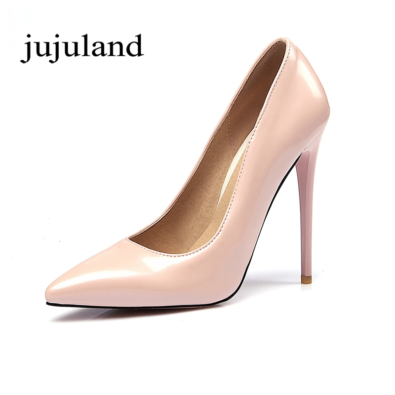 Spring/Autumn Women Shoes Pumps Thin High Heels Pointed Toe Casual Fashion Party Slip-On Shallow Patent Leather Solid fashion slip on brand shoes crystal buckle high heels casual round toe women pumps embroidery party sandals chinese style l29