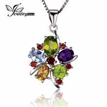 JewelryPalace Flower Multicolor three.1ct Pure Amethyst Garnet Peridot Citrine Blue Topaz Cocktail Pendant 925 Sterling Silver