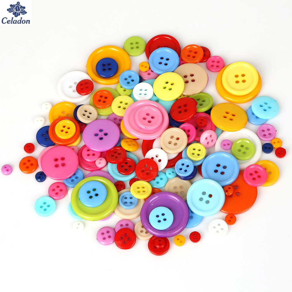 Celadon 20-200PCS Multi Sizes Round Resin Decorative Button