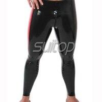 Suitop rubber latex legging with crotch zip black color leggings