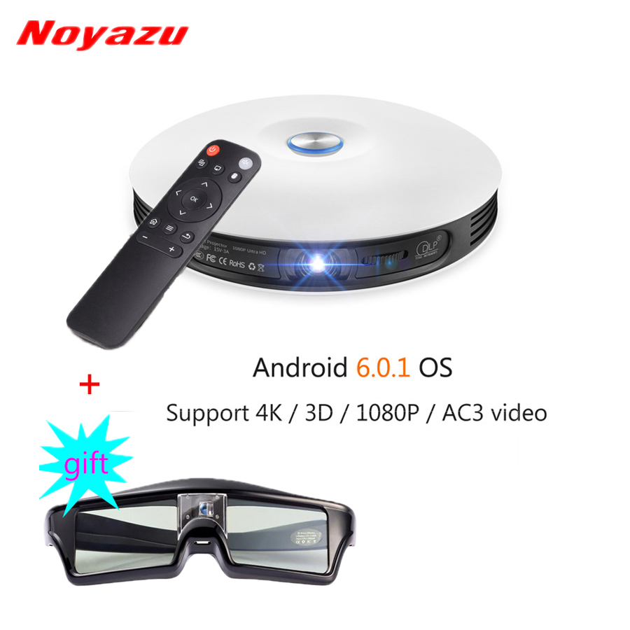 Noyazu DLP Projector Mini LED 3D Android Beamer Full HD 4K 1080P Business Portable Projetor Smart Home Cinema with 3D Glasses original xgimi z4 aurora 4k projector led 3d full hd projetor mini projector portable dlp projector home theater cinema beamer
