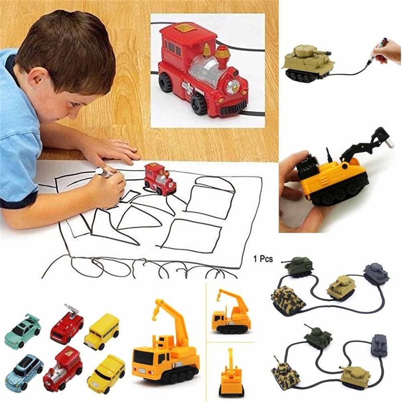 Hot Engineering Vehicles Mini Magic Toy Truck Children's Inductive Truck Toys Figure Tank Car Pen Draw Lines Induction Rail Car solar powered magic autonomous mini car toy