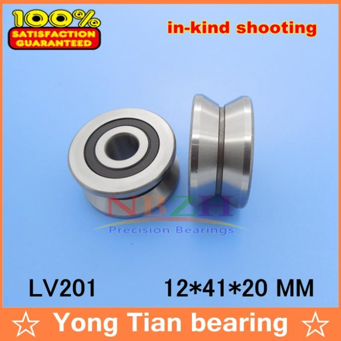 V Groove Guide roller bearings LV201 ZZ RV201/12-20 12*41*20 (Precision double row balls) ABEC-5 50mm bearings nn3010k p5 3182110 50mmx80mmx23mm abec 5 double row cylindrical roller bearings high precision