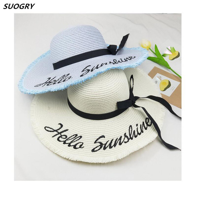b5e9ab00 2018 Personalized Letter Embroidery Hello Sunshine Fringed beach hat summer  straw hat for women Honeymoon Nautical floppy hat