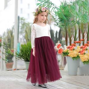 Princess Dress for Girls Ankle Length Wedding Party Dress Eyelash Back White Lace Beach Dress Children Clothing E15177(China)