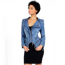 58730974e30 Young17 Women Gothic Gray Blue Rivet Asymmetric Punk Rock Denim Jacket Coat  Plus Size 6XL Spring