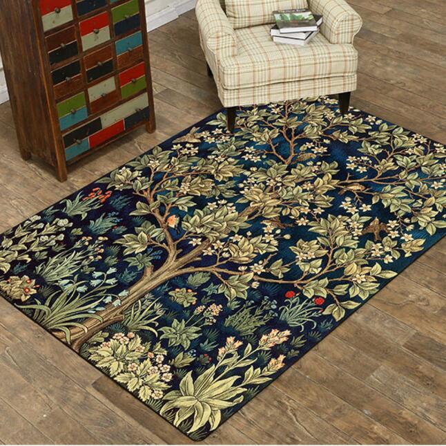 Fashion Retro Carpet Printed Tree Super Soft Flannel mat for Living room Tea Mat bedroom Carpet play mat Non-slip rug blanket