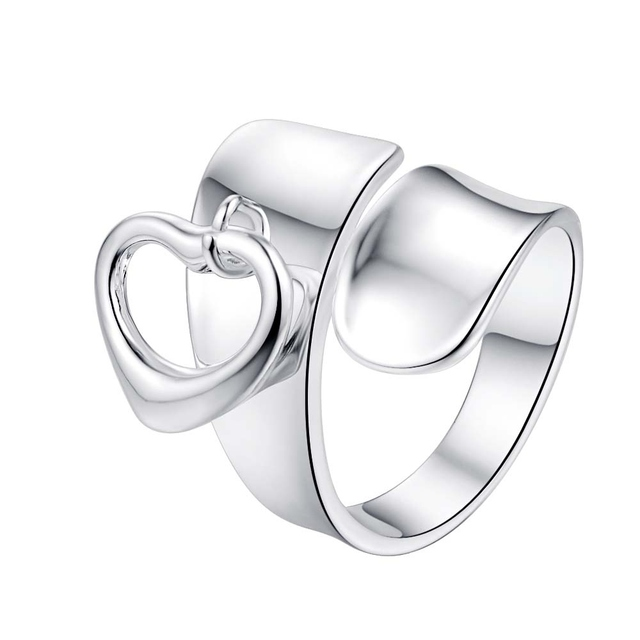 love heart cool adjustable for men Wholesale 925 jewelry silver plated ring big