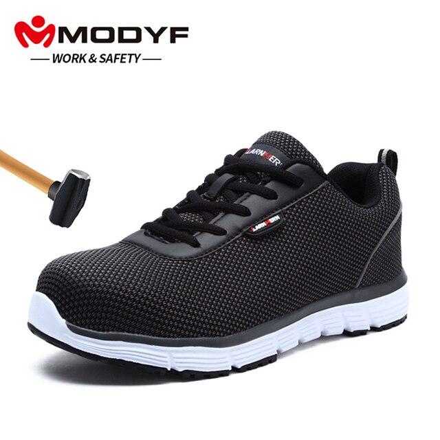 MODYF erkek Çelik Burun Iş Güvenliği Ayakkabı Hafif Nefes Anti-smashing Yansıtıcı sneaker