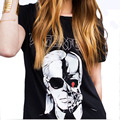 2016 Carta de Verano de LAGERFELD Camisetas Estampadas Mujeres Patrón Fantasma Cráneo O cuello de la Camiseta Femenina harajuku camiseta femme QL2125