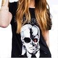 2016 Verão Carta LAGERFELD T-shirt Impressos Mulheres Crânio Fantasma Padrão O pescoço Camiseta Feminina harajuku camiseta femme QL2125