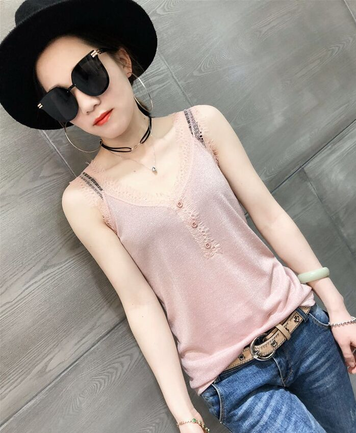 women clothing women T shirts women tees sleeveless v-neck t shirts sexy tees knitted european clothing high elastic 3