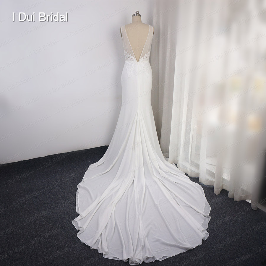 Deep V Neckline Wedding Dress Sheath Chiffon Lace Elegant Bridal Gown
