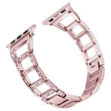 BOX-W Link Watch Band For Apple Watch Crystal Rhinestone Diamond Stainless Steel Bracelet Strap for iWatch Series 1/2/3/4
