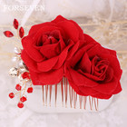 Red Rose Flower Hair Combs Wedding Bridal Head Jewelry Women Prom Headpiece Charm Hair Accessories Flower Bridal Hair Comb