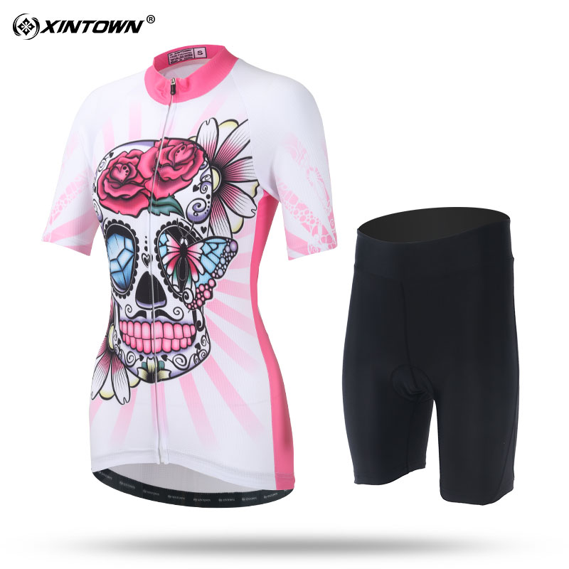 XINTOWN Sweat Short Sleeve Cycling Jersey Set Comfortable MTB Bike Clothing Bicycle Jerseys Women Pro Road Clothes