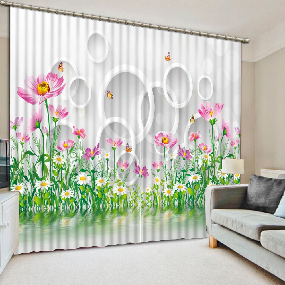 Modern 3d font b curtains b font for bedroom plant flower font b custom b font