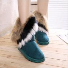 2015 fashion winter snow boots wool exports imitation fox fur boots big shoes tube high fringed boots Piwama