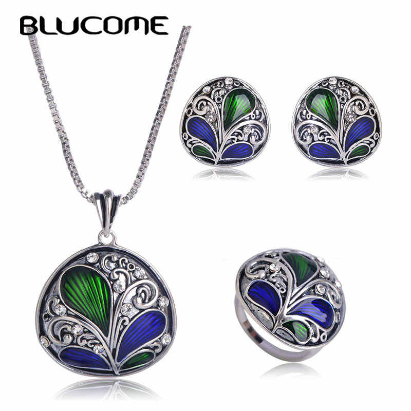Blucome Dubai Green Necklace Earrings Ring Jewelry Set Crystal Pendant Plant Shape Enamel Accessories Women Banquet Party Bijoux