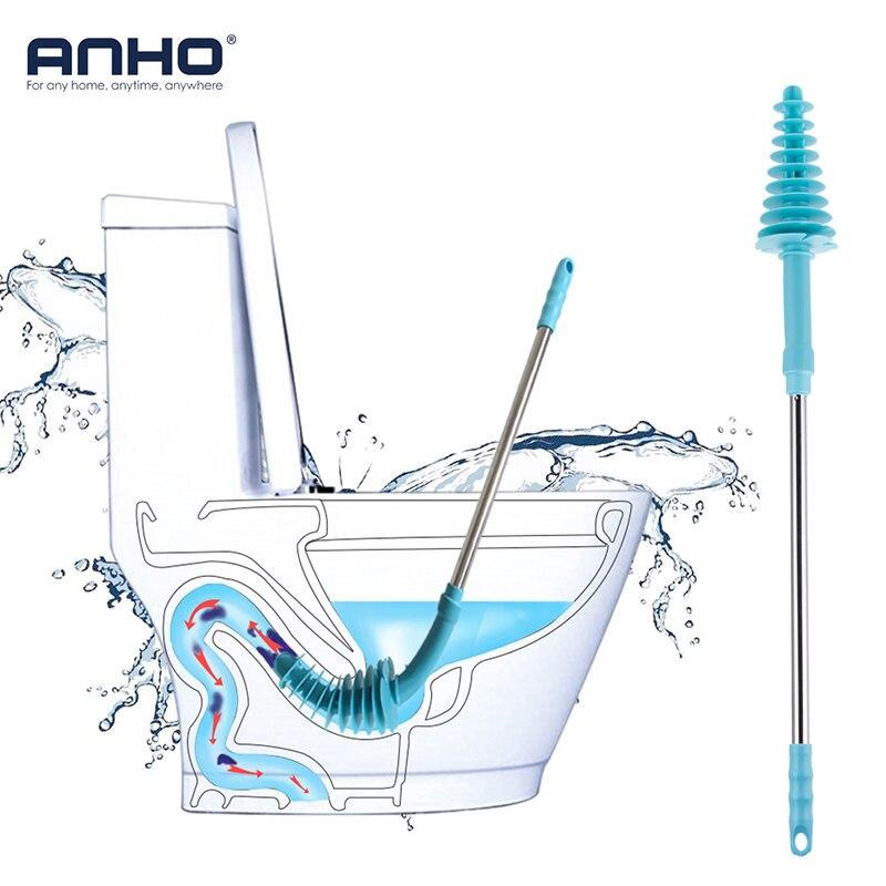 ANHO Wc Pinsel Plunger Edelstahl langstieligen mit Wand Haken Dredge Gereinigt Flexible Kanalisation Rohr Verstopfen Haushalt Werkzeug