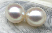 free shipping Natural top 9.5*11mm oval loose white south sea half drilled pair pearl