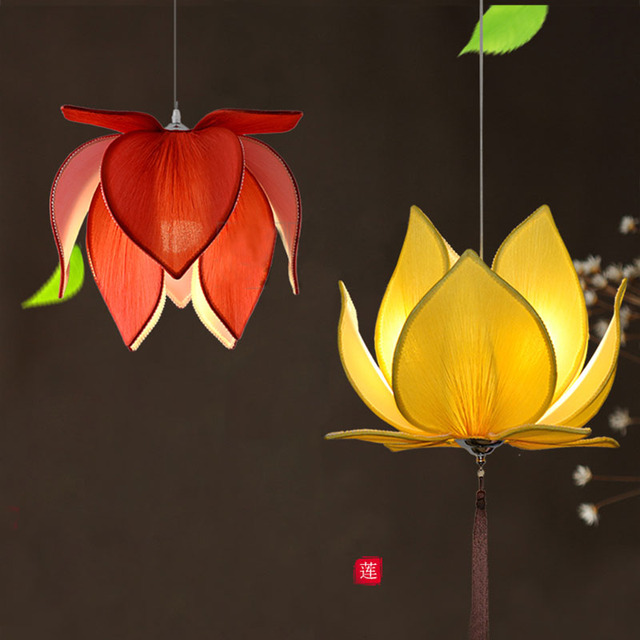 New Chinese Fabric Lotus Led Pendant Lights Lamp Classical Handmade