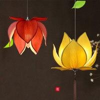 New Chinese fabric Lotus led pendant lights lamp Classical handmade lotus flower pendant lighting e27 buddhist temple Restaurant