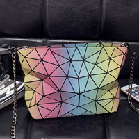 Foldable Rainbow Women Handbags Bag Fashion Tote Bolso Laser Sac Geometry Quilted Shoulder Bags Chain Bags