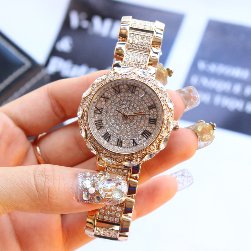 Luxury Brand Fashion Lady Casual Watch Women Rose Gold Full Rhinestone Women Watches Elegant Stainless Steel Girls Clock Reloje