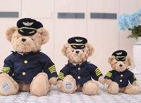 1 pc 20 cm 25 cm 30 cm cartoon samolot kapitan miś pluszowy lalka nowość kreatywne nadziewane zabawki chłopca dziewczyna prezent dla dzieci