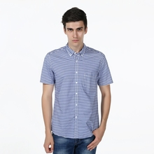 New Slim Fit Sailor's Stripe Cotton Casual Shirt Men's Social Dress Shirt Short Sleeve Turn Down Collar Standard US Size