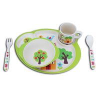 Latest Bamboo Fiber Material Children Tableware 5pcs Tableware Cartoon Pattern Baby Tableware Cup Bowl Tray Fork Set Children's