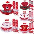 Navidad Bebé Ropa Infantil Establece Santa Claus Romper Tutu Dress/Jumpersuit Bebe Del Árbol de Navidad de Cumpleaños de Trajes Vestidos
