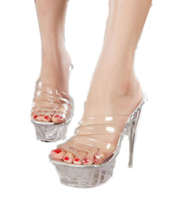 Plus Size 40-43 Summer Transparent Clear Strappy Mules Sandals Women Fetish Shoes Extreme Ultra Very High Heel Stripper Pumps