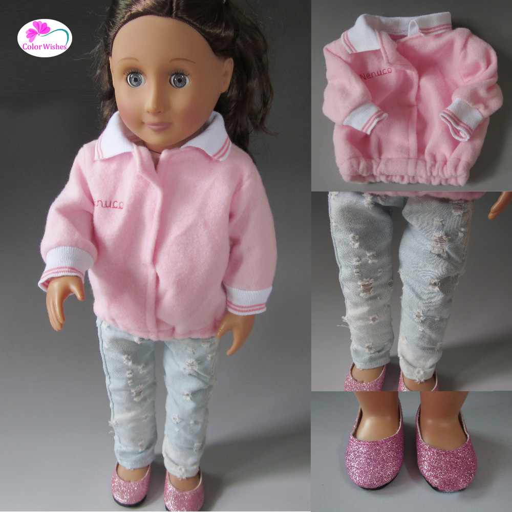 Casual Wear, jeans Clothes for dolls fits 45cm American girl and Zapf baby born doll accessories 5pice lot woody 5 different size hanger for 18inch american girl and doll and 43cm baby born zapf