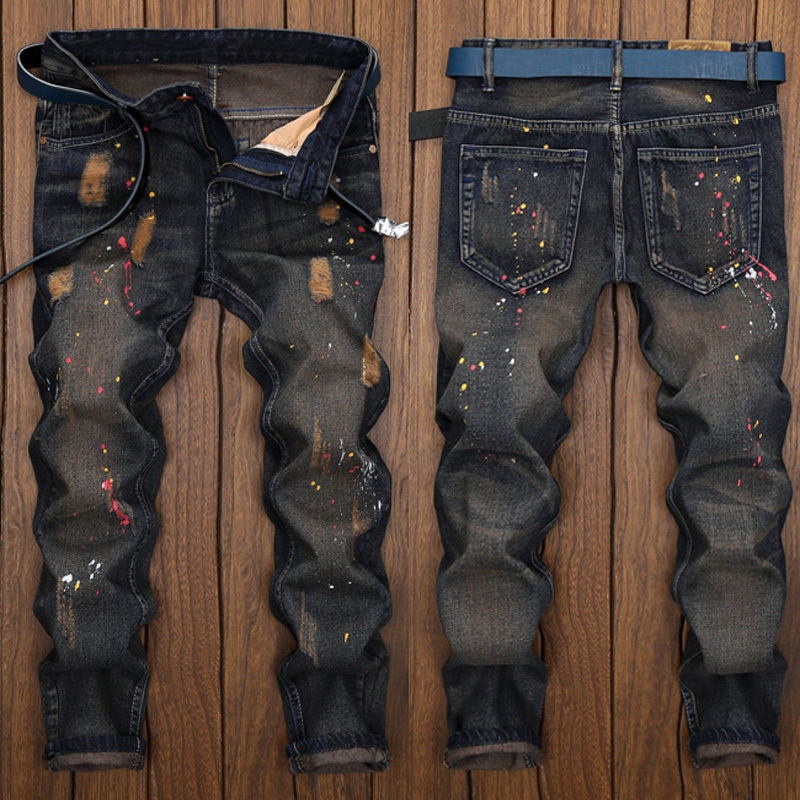 2018 New Fashion Men Stretchy Ripped Skinny Paint Biker   Jeans   Destroyed Taped Slim Fit Hole Denim Pant