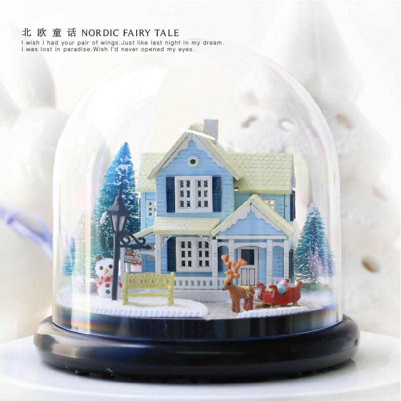 NEW B025 miniature garden dollhouse miniature diy miniatures wooden doll house ccessories Puzzle Toy Model Kits Dust Cover