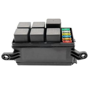 Universal 12V Car Marine 6 Way Relay 6-Slot Blade Fuse Holder Box Block with Spade Terminals 5A 10A 15A 20A 25A 30A Fuse