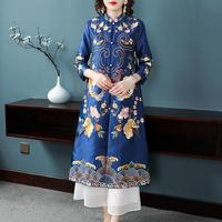 Chinese style embroidery windbreakers long jackets for women