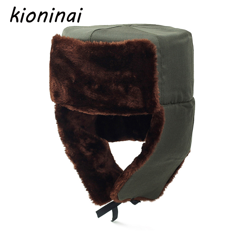 Kioninai Nostalgic Style Bomber Hat Russian Army Trooper Aviator Winter Hat Ushanka Green Warm Cap Ear flaps Bomber lei feng Cap