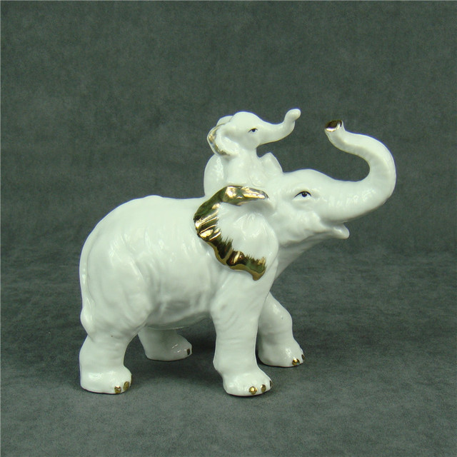 Elegant Creative Porcelain Elephant Statue Decorative Ceramics Fatheru0027s Love  Sculpture Mascot Animal Gift And Craft Ornament Accessories