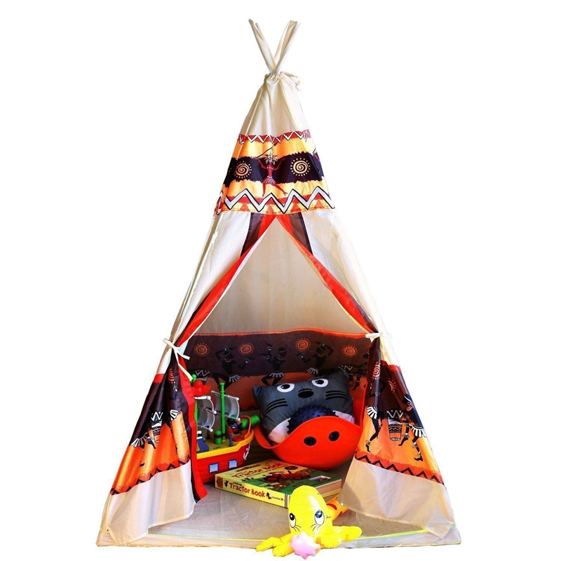 Children Indian Toy Teepee Play Tent Portable Playhouse Decoration Tipi Kids Indoor Game Room Outdoor Tourist Playpen kids teepee tipi tent for kids white children play house toy kids baby room indoor big outdoor teepees for children