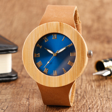 Unique Women's Hand-made Natrue Wood Quartz Watches Roman Number Blue Dial Bamboo Wristwatch with Genuine Leather Band Gift