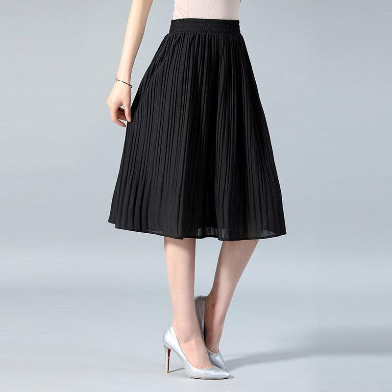 dec6c54a4cd Для женщин шифоновая юбка летние тонкие однотонные плиссированные юбки Для  женщин s Saias миди Faldas Винтаж Для женщин юбка миди купить на AliExpress
