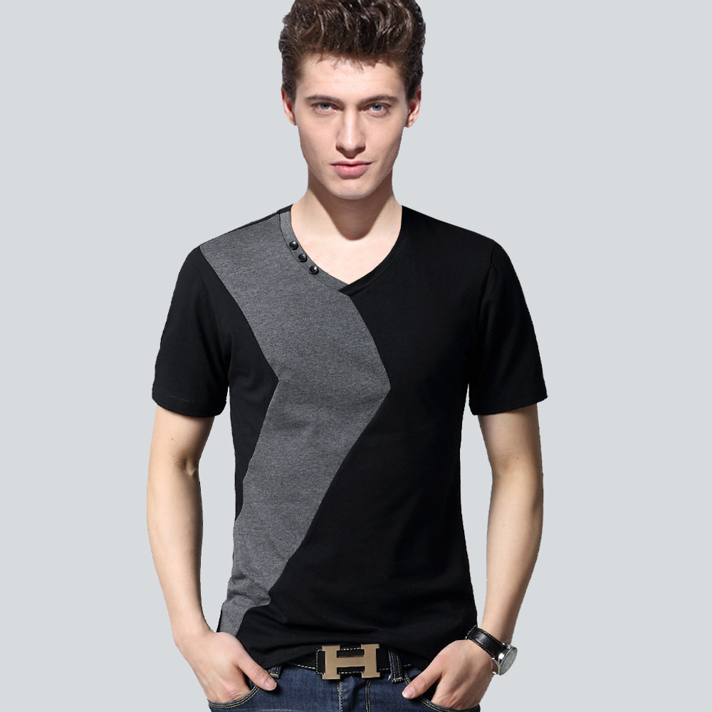 03b3c859eab6d Summer fashion Men t shirts V-Neck skinny t-shirt mens Patchwork sleeve boy  Tops & Tees mens tee shirt Casual tshirt men